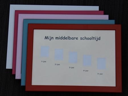 Schoolfotolijst Middelbare school klas 1-5 - Lichtroze rand