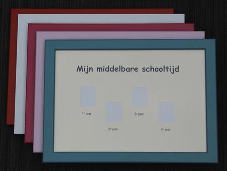 Schoolfotolijst Middelbare school klas 1-4 - Lichtroze rand