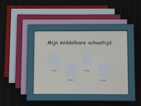 Schoolfotolijst Middelbare school klas 1-4 - Witte rand