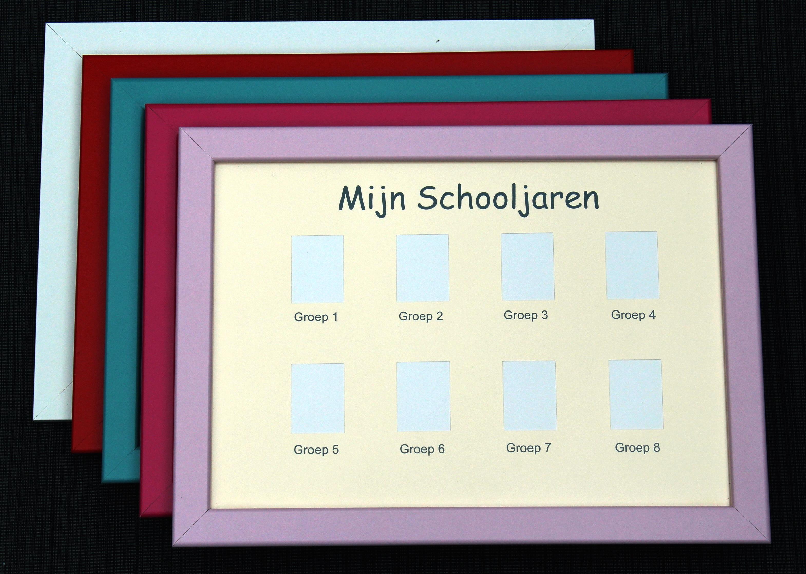 Pasfotolijst school groep 1-8 - Lichtblauwe rand